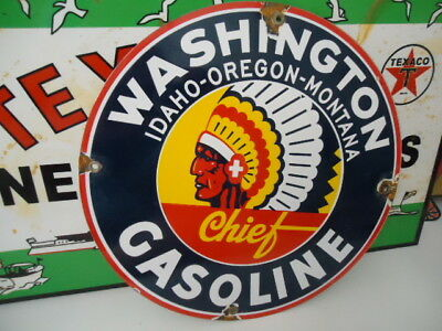 Old Used Washington Chief Gasoline  Porcelain Gas Pump Sign  (No Reserve)
