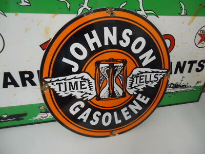 Old Used Johnson Gas  Porcelain Gas Pump Sign  (No Reserve)