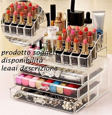 Espositore Trucco Organizer Porta Cosmetici Box Make Up Rossetto