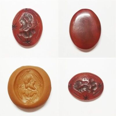 Wonderful rare intaglio seal stamp pendant old roman agate man stunning 7 g.