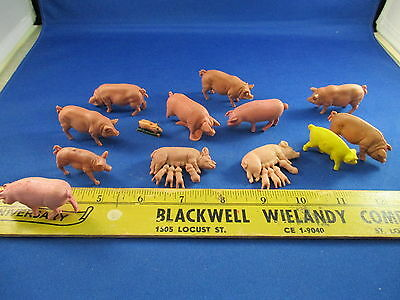 VTG Lot Hong Kong Plastic Pigs Hogs Piglets Yellow Rare 1970's Sucklings Toys