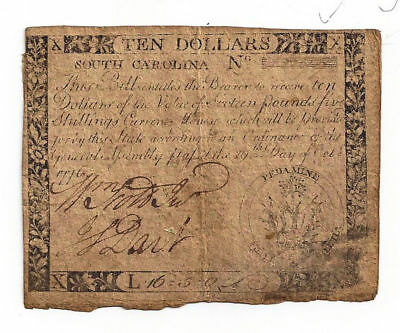 1776 South Carolina Colonial Currency Ten Dollar Note - Only 2500 Printed