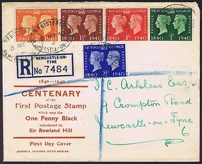 1940 Centenary Set of Five to 2 1/2d on Printed First Day Cover South Shields