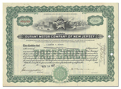 Durant Motor Company of New Jersey Stock Certificate