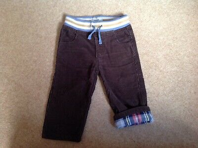 Baby Boy Or Girls Cord Lined Trousers Size 12-18 Months By Baby Boden