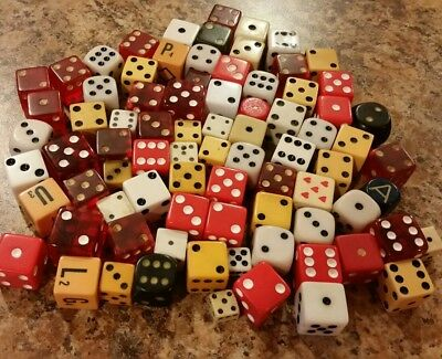 Bag Lot of 81 Dice Old New Vintage All Sizes Colors