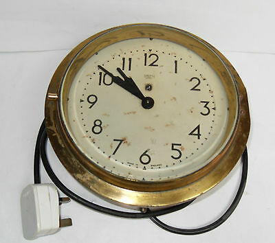 Smiths Sectric  Large Brass Electric Wall Clock. Rewired