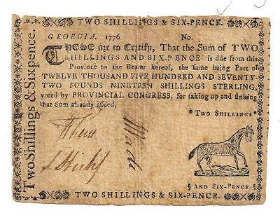 1776 Georgia Two Shillings & Six Pence Colonial Note - Signed by William Few!
