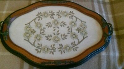 victorian? tray oval ornate wood with brass? handles and decor and glass covered