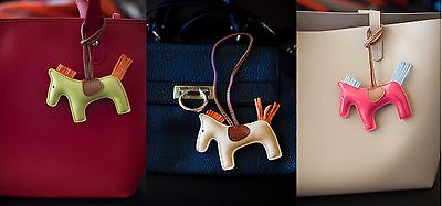 Genuine Leather Horse Rodeo Keychain Bag Charm Togo DIY Cute Gifts