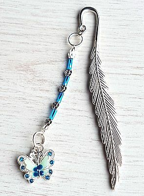NEW 12cm  BOOKMARK WITH BUTTERFLY   CHARM  NOVELTY BOOKMARKS GIFT PRESENT