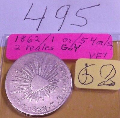 1862 Go Y 2 reales silver Mexico, overdate, investment grade