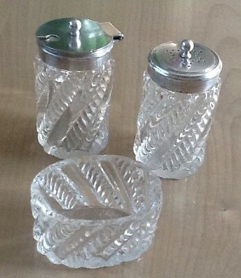 Antique Silver Plate and Glass SALT AND PEPPER POT