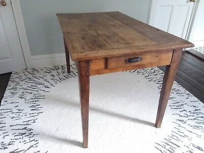Antique French Provincial Farmhouse Cherry Wood Dining Kitchen Table