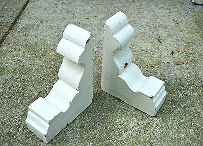 Antique Painted Wood Corbel/Brackets. Shabby Cottage Chic. White Crackling Paint