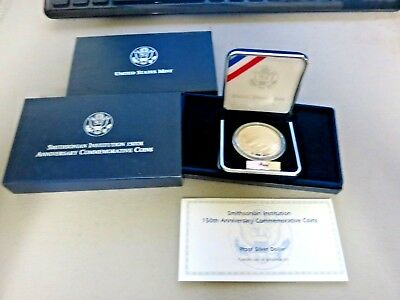 1996 Smithsonian Institution 150th Anniv PROOF SILVER Dollar w/box/COA !!
