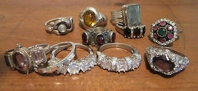 Lot Of 11 Sterling Silver Rings Not Scrap Various Sizes 10 To 5.5