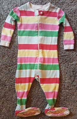 Baby GAP girls 6-12 months Footed Pajamas One-Piece Bright Colored Striped PJs