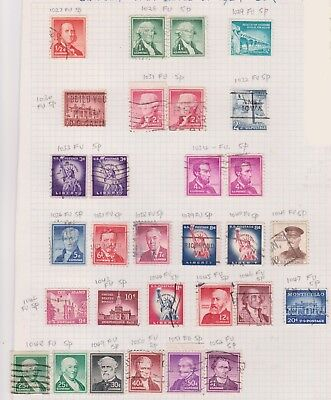 (K43-33) 1954-61 USA mix of 30 stamps value to $1.00 (K)
