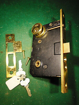 "VINTAGE CORBIN NOS BRASS ENTRY MORTISE LOCK w/KEY & CYLINDER 7 3/4"" FACE (9529)"