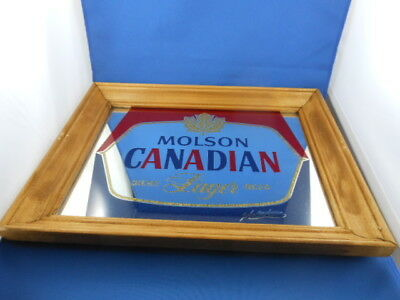 Molson Canadian Beer Mirror Advertising With Wooden Frame
