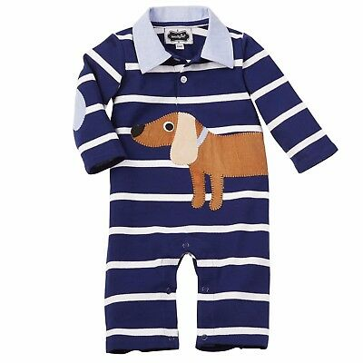 Baby Boy Mud Pie Puppy Polo Long Romper One Piece 0-6 Or 9-12 Months Nwt