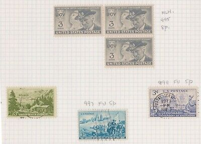 (K43-29) 1951 USA mix of 6 stamps value to 3c (G)