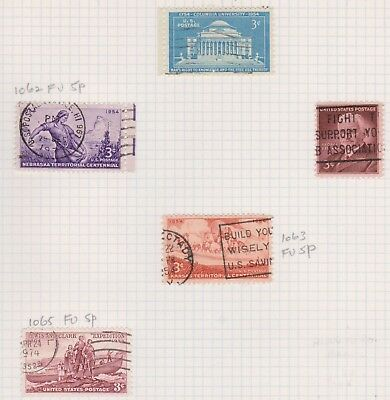 (K43-32) 1954 USA mix of 5 stamps value to 3c (J)