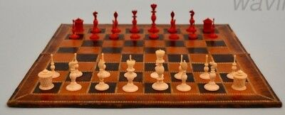 miniature Madras set and chessboard. Hand carved. India. NO RESERVE!!