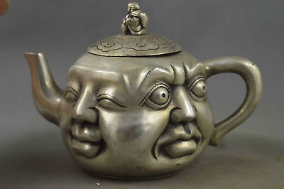 Collection Miao Silver Carve Happy & Angry & Sad & Joyous Buddha Exorcism Teapot
