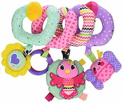 Spiral Activity Toy Bird Rattle Clacker Ring Clinger Bug Ribbon Baby Girl Pink