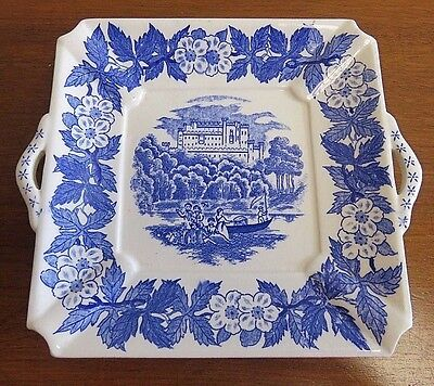 """Antique Blue Castle Pattern on White China Two Handled Square Plate 6 3/4"""""""