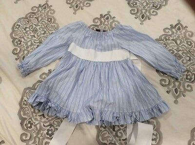 Toddler Girl Boutique Top Tunic 2T 3T 4T Blue Stripe With Ribbon Tie Ruffle Hem