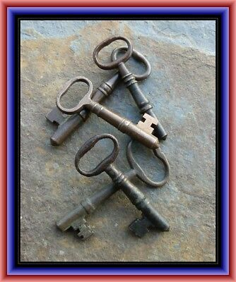 Five Antique Bronze Mortise Lock Skeleton Keys  Antique Door Keys