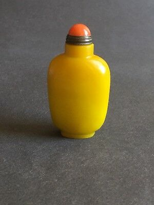 Exquisite Chinese Vintage Peking  Glass Amber Style Snuff Bottle