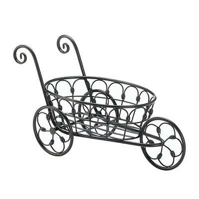 French country Black iron scroll flower cart plant pot stand Planter yard statue