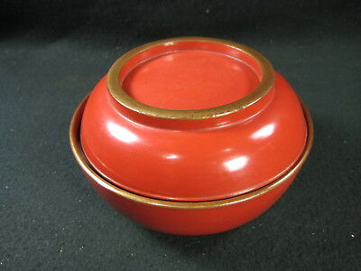 Japanese Antique Meiji Era Gold Red Lacquer Lidded Bowl