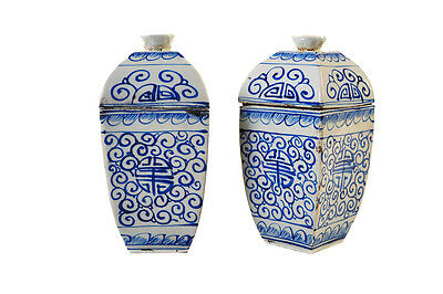 Chinese 19th Century Pair of Blue & White Lidded Urns
