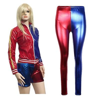 Ladies HarleyQuinn Style Suicide Squad Metallic Jacket Hot PantsShorts Halloween