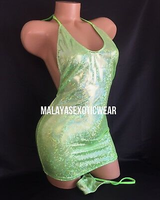Exotic Dancer Stripper UV Glow Sparkle Mini Dress Thong Dancewear Set