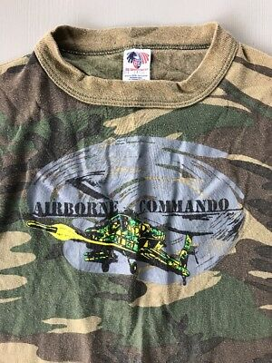 "Vintage Camouflage Camo T-Shirt ""Airborne Commando"" Helicopter Boys Youth Lg"