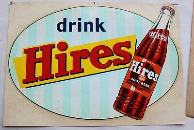 50's NOS HIRES Root Beer window Decal transfer sign advertising soda pop bottle
