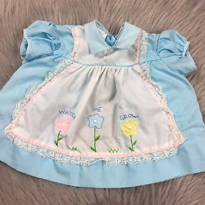 Vintage Baby Girls Cradle Togs Watch Me Grow Blue Floral Newborn 0/6m Top Reborn