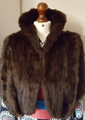 Vintage real fur dark brown evening cape capelet wrap with collar. 50's glam.