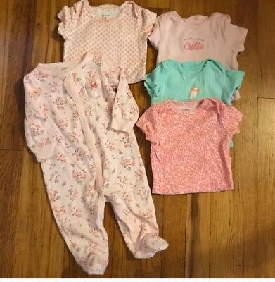 Carters Footie Pajama And Undershirt Baby Girl Lot Size 9 Months
