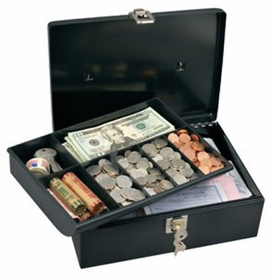Security Master Lock Metal Steel Cash Box Money Safe Locking Personal W Tray NEW
