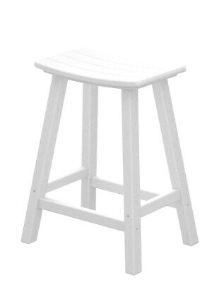 """POLYWOOD 2001-WH Traditional 24"""" Saddle Bar Stool in White"""