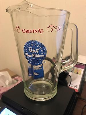Original Pabst Blue Ribbon Beer glass pitcher clear with logo EUC