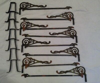 8 vintage metal swing arm adjustable curtain rods with 8 wall brackets  art deco