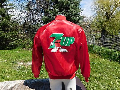 Red Satin 7UP Cool Spot Jacket Size Medium Excellent Condition Made in USA